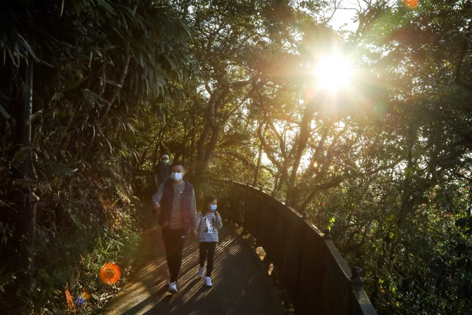 An adult and child in masks walk through a park in Hong Kong