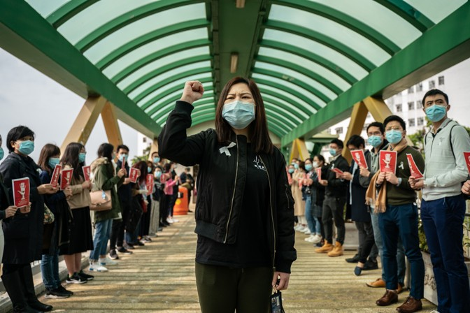 A protester wearing a mask in Hong Kong