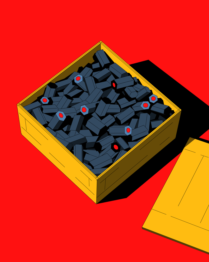 illustration of cameras in crate for shipping